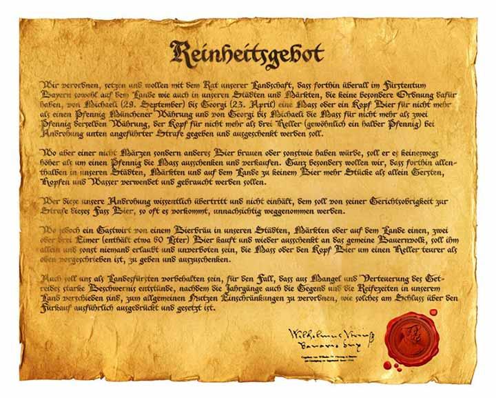 Reproduction du décret de pureté de 1516