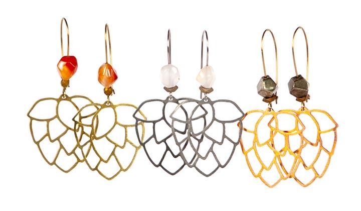 Boucles d'oreilles en forme de cônes de houblon