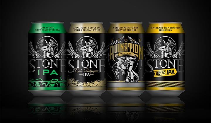 Quelques bières brassées par Stone et vendues en canettes