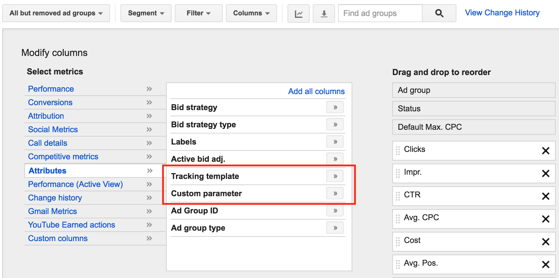 view ad group tracking templates and custom parameters inside adwords screenshot