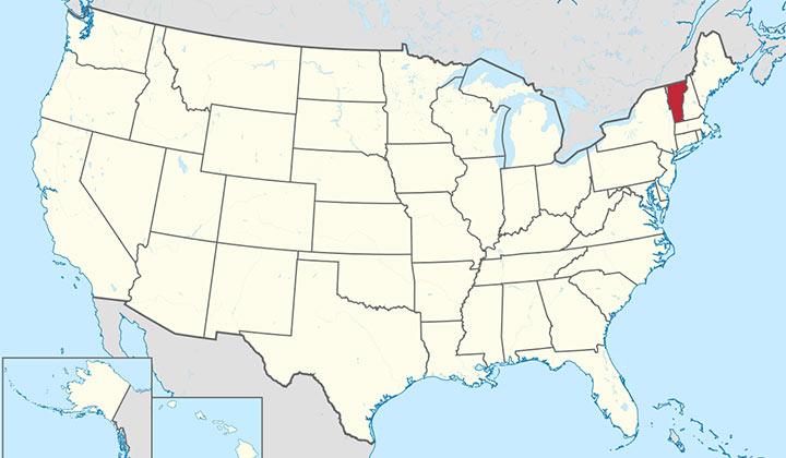Carte du Vermont, au Nord-Est des Etats-Unis