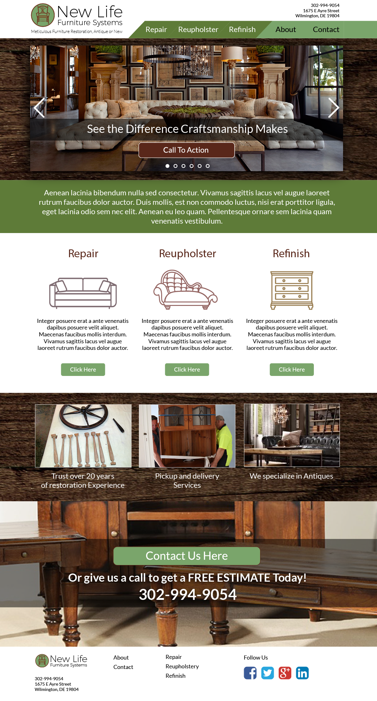New Life Furniture Systems Full Page Scroll Image