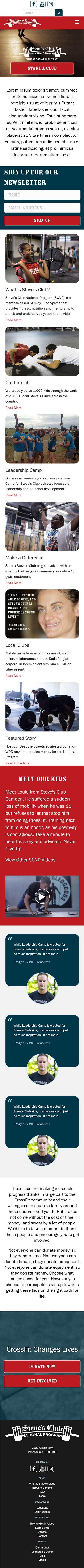 Steve's Club Mobile Website Scroll