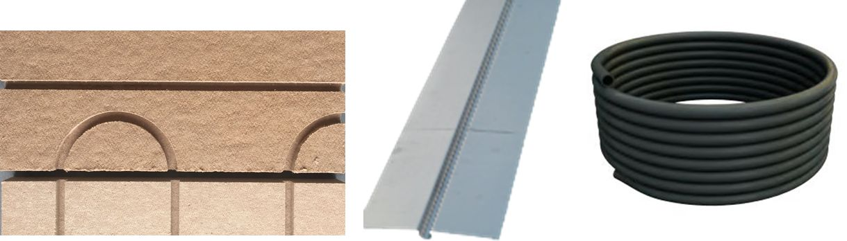 Plancher chauffant sec: Isolant rainuré, tôle aluminium, Tuyau BAO PERT noir