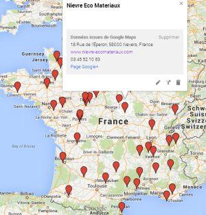Carte des magasins de plancher chauffant Caleosol