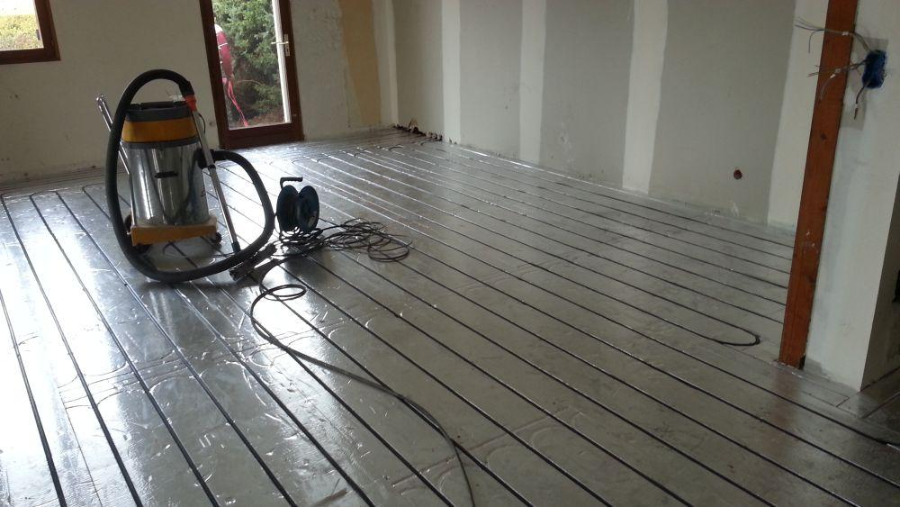 Exemple de pose plancher chauffant caleosol en rénovation  à Lyon et Dardilly