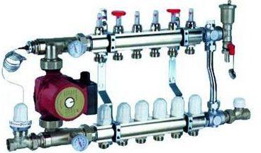 Autre exemple d'un groupe de mélange pour remplacer un radiateur pour un mur chauffant pour une surface de 70m²