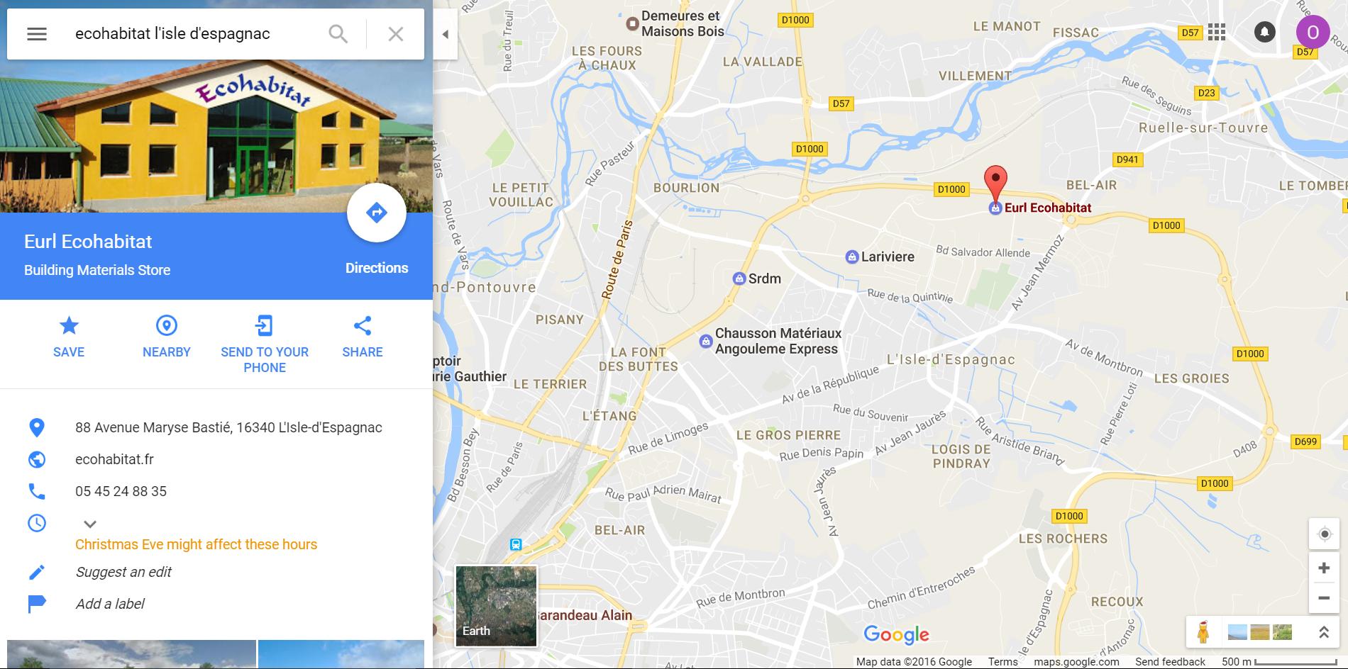 Position du magasin plancher chauffant Ecohabitat à Angoulème L'Isle D'espagnac