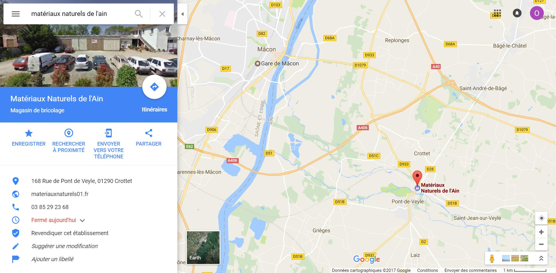 Position magasin plancher chauffant Matériaux Naturels de l'Ain à côté de Bourg en Bresse