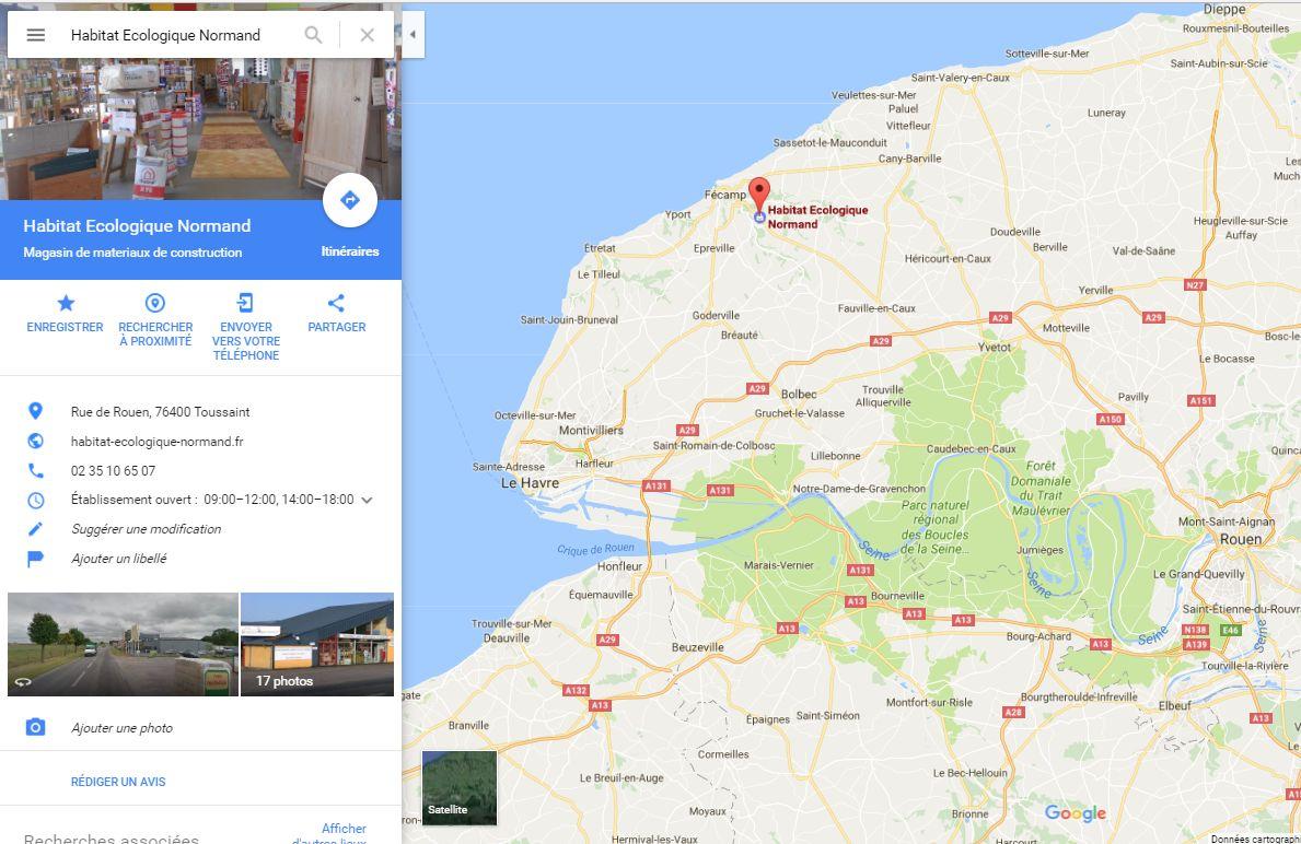 Position du magasin plancher chauffant Habitat Écologique Normand à côté du Havre