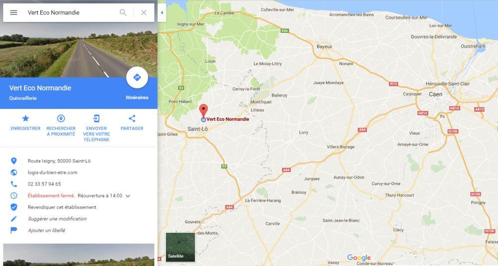 Position du magasin Vert Eco Normandie à côté de Caen