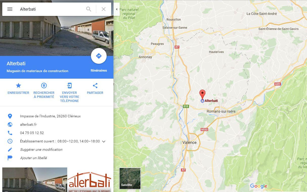 Position du magasin plancher chauffant Alterbati à côté de Valence Nord