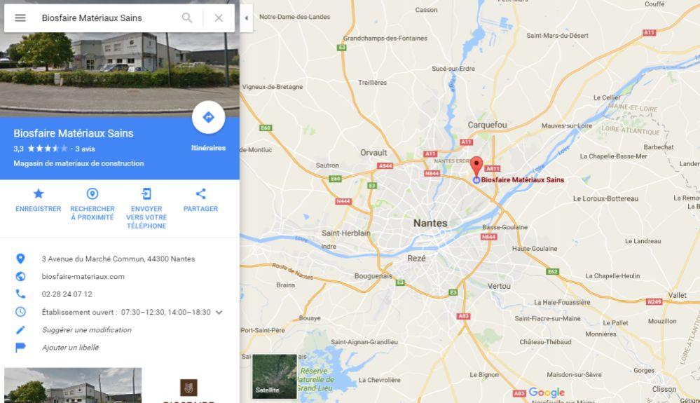 position du magasin plancher chauffant Biosfaire à Nantes