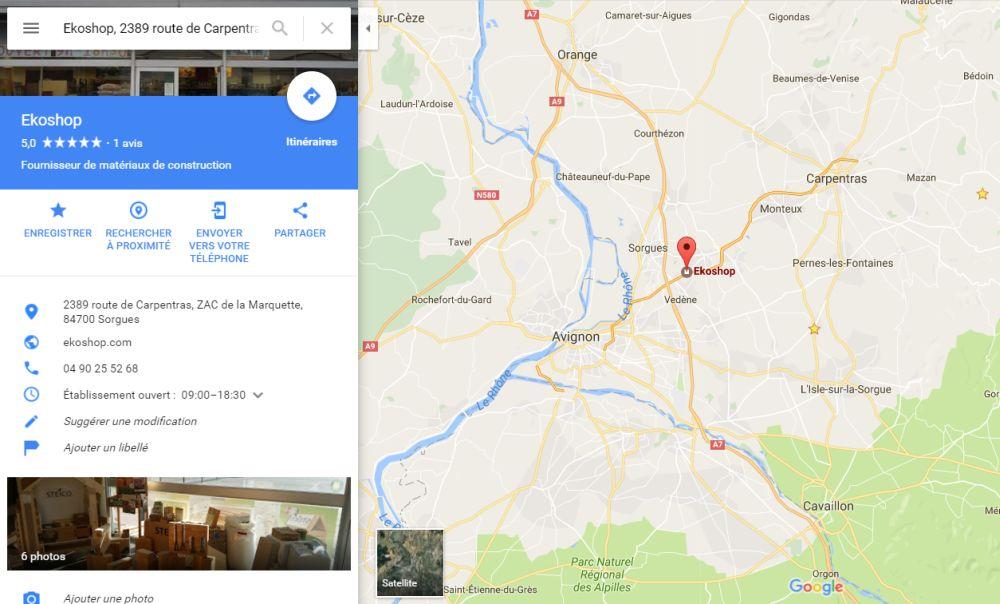 Position du magasin plancher chauffant Ekoshop à côté de Avignon