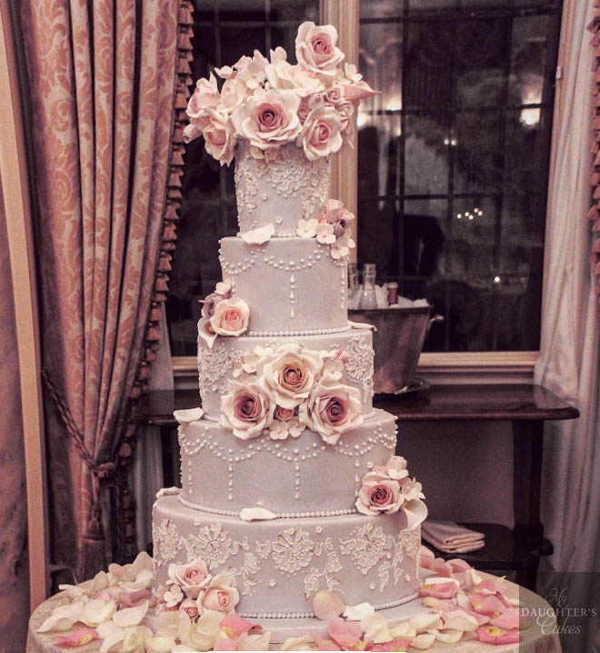 Pleasantdale Chateau Wedding Cake by My Daughter's Cakes