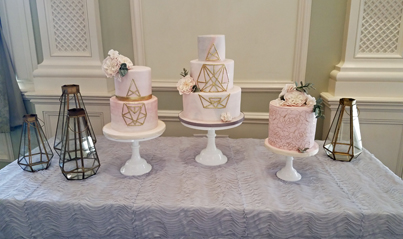 trio of wedding cakes in New Jersey