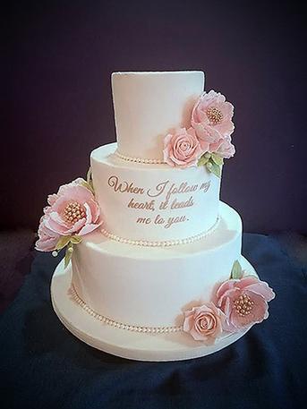Blush and Gold Wedding Cake