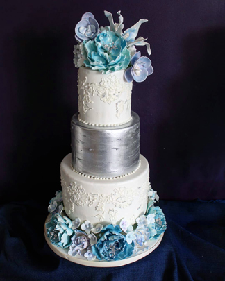 Lace and sugar flowers wedding cake