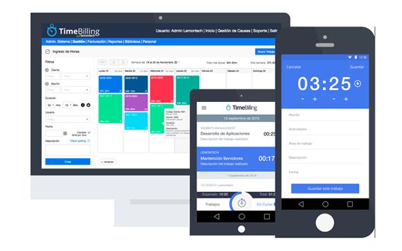 TimeBilling en desktop, tablet y teléfono movil