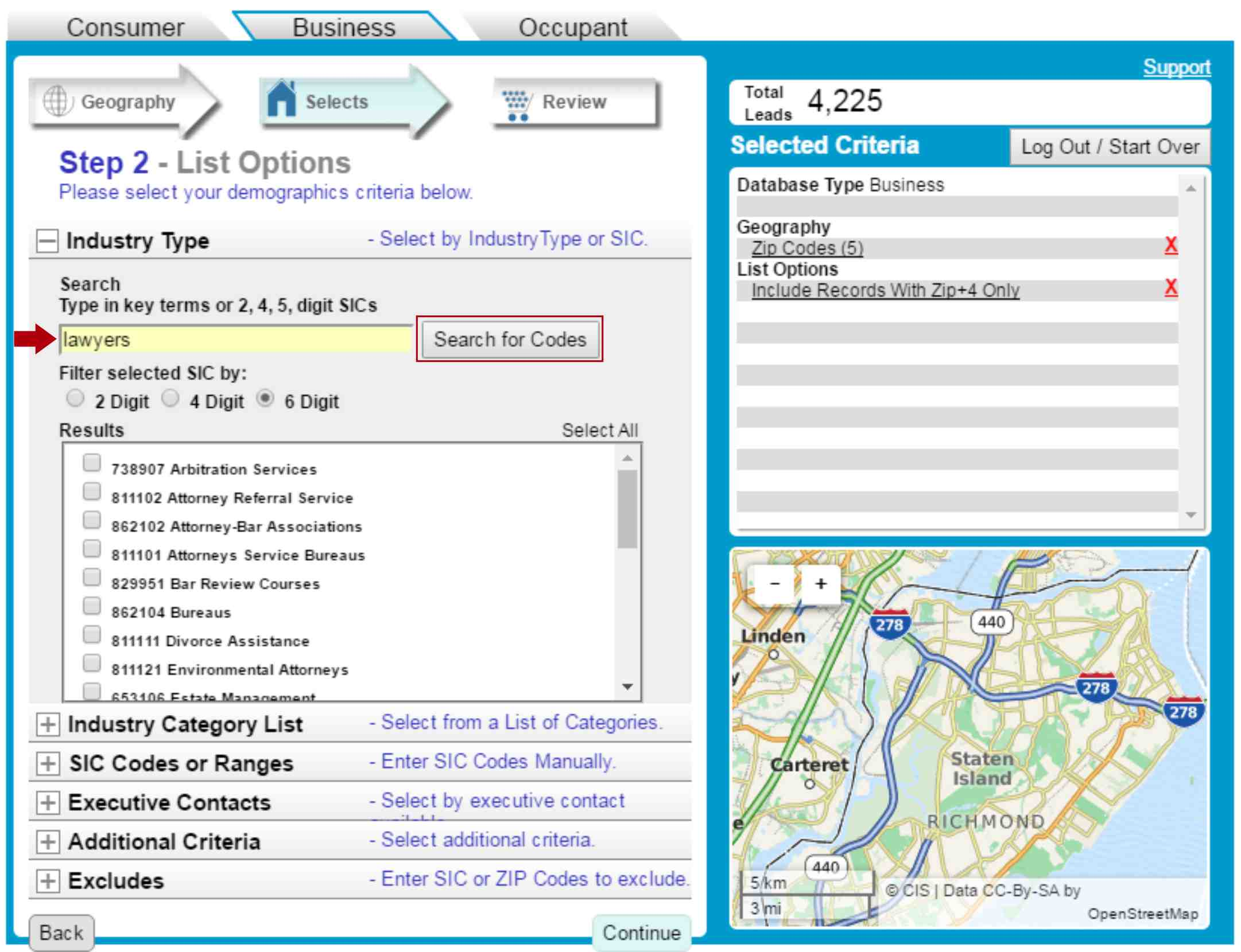 Business List SIC Code Selection