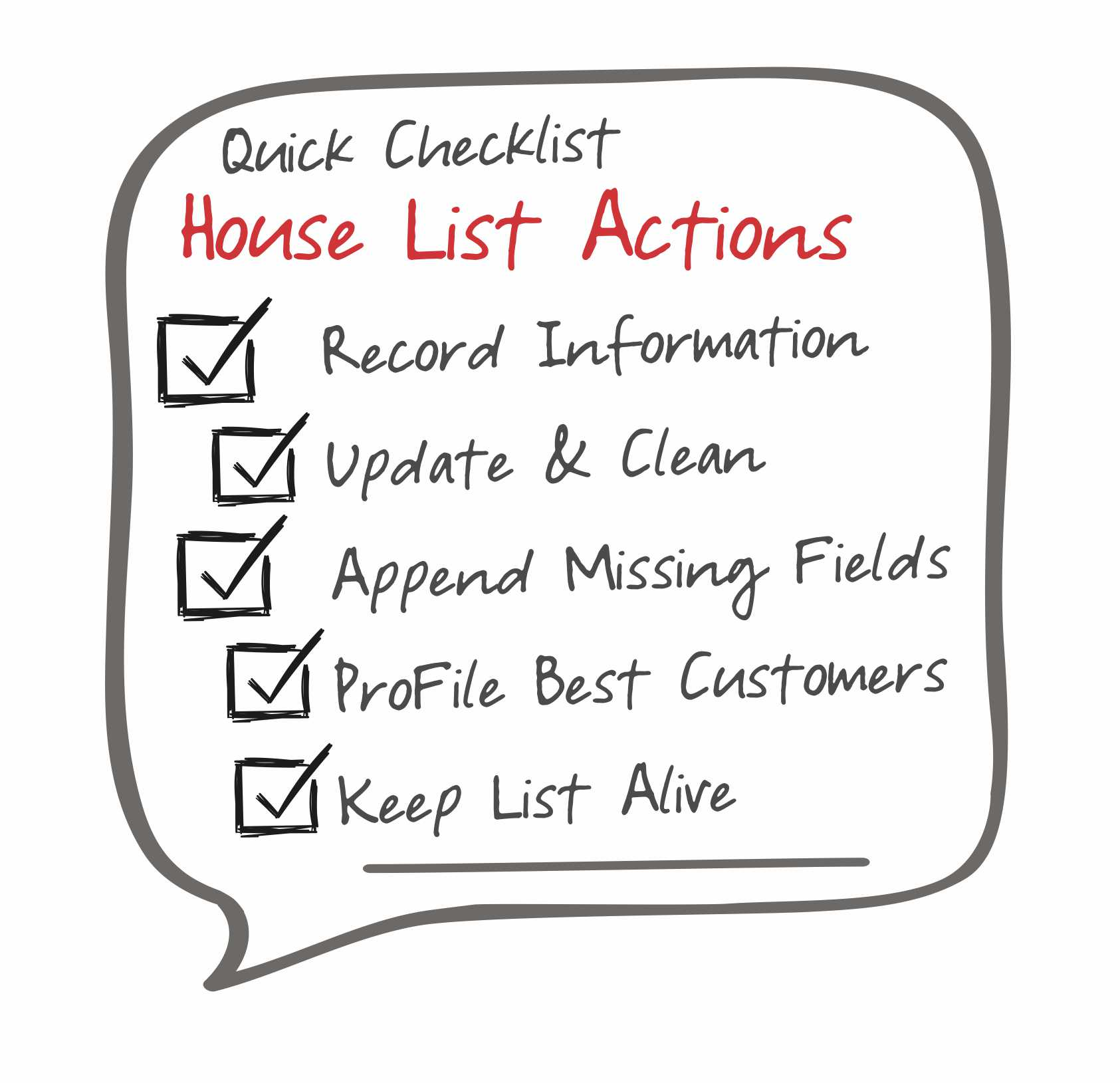 direct mail marketing house list checklist