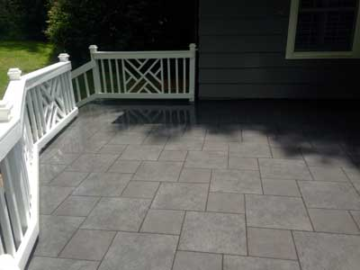 Stone patio in Asheville NC after pressure washing.