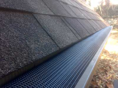 Gutter in Asheville being protected by SlimGuard.