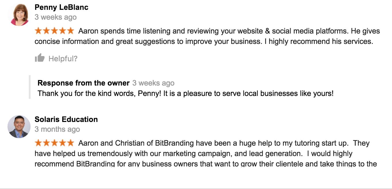 BitBranding Google reviews
