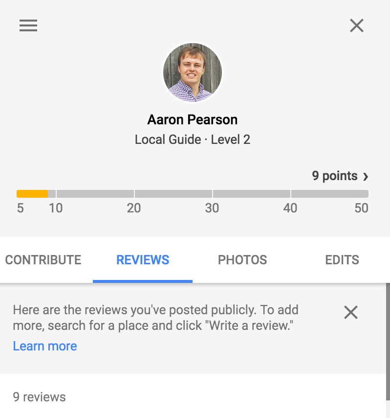 Aaron Pearson Google Reviews
