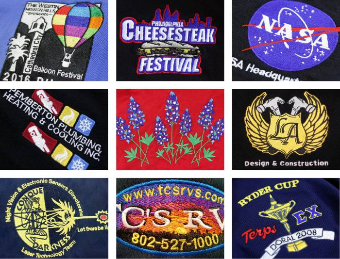 embroidered apparel services