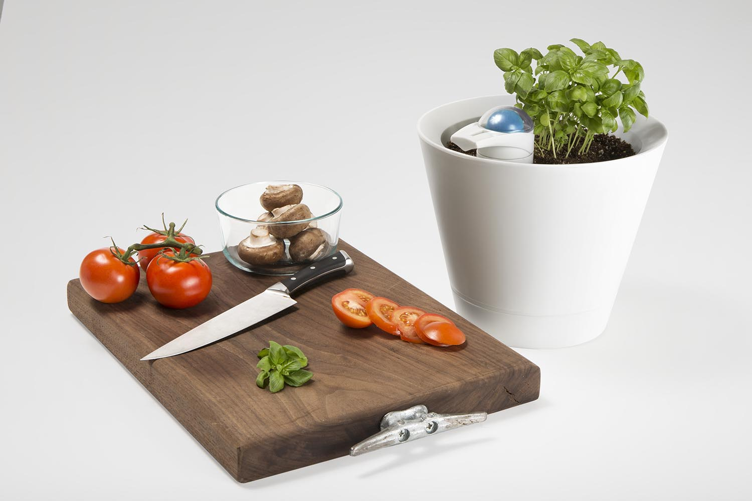 Photo of Automatic watering planter for kitchen design with basil and tomatoes