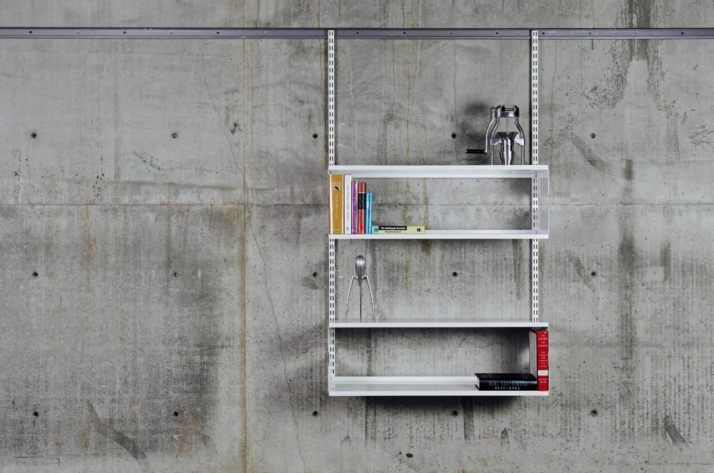 Photo of modular shelving with 24 inches wide by 12 inches deep