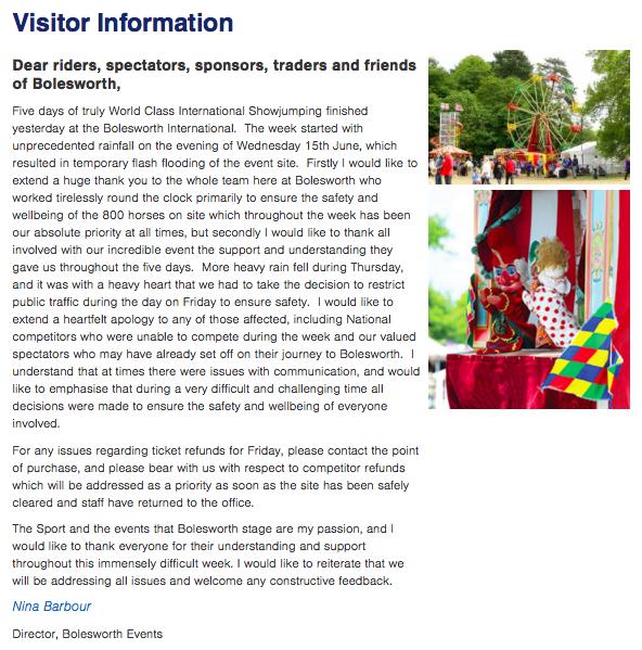 Visitor information of Bolesworth Events