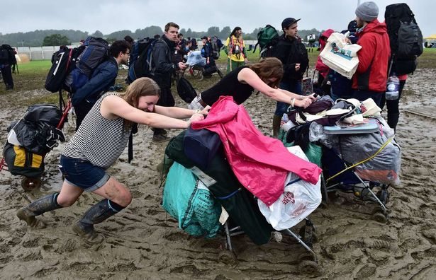Struggling to move in the mud at a Festival