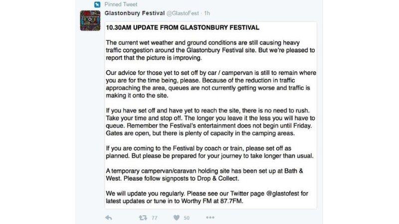 Twitter feed of Glastonbury Festival
