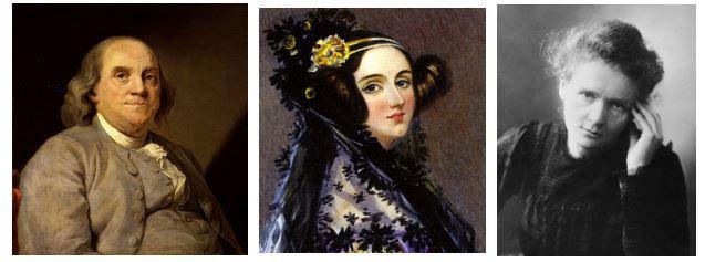 Benjamin Franklin, Ada Lovelace y Marie Curie.