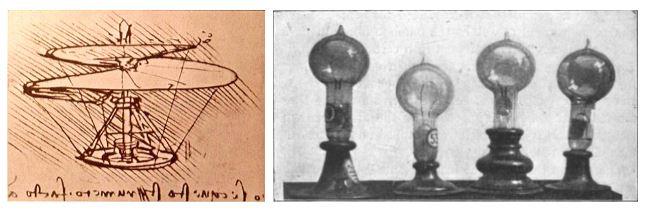 El helicóptero de Leonardo Da Vinci y las bombillas de Thomas Edison.