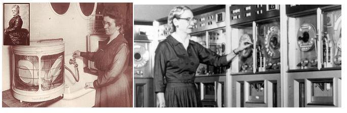 Josephine Cochrane con el lavavajillas y Grace Hooper, pionera en el lenguaje de la comunicación