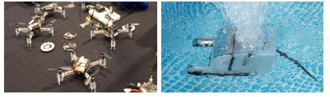 Drones y un drone submarino de la cultura maker.