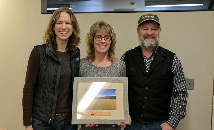 Five Valleys' Vickie Edwards, Sharon Teague and Randy Teague at their easement closing celebration. Photo by Five Valleys staff.