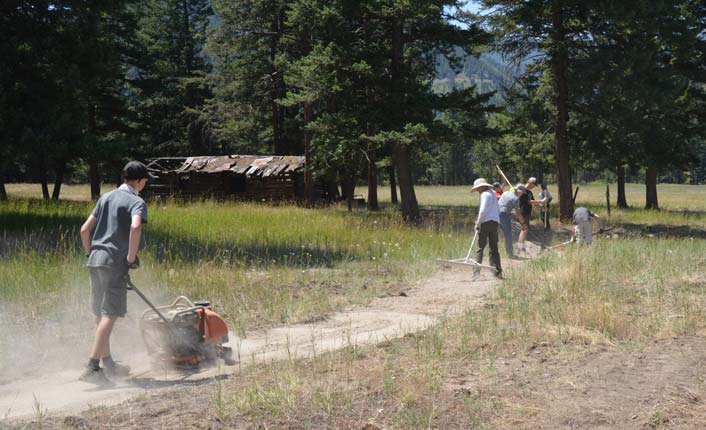Rex's trail crew installing the trail (above and below). Photos courtesy of Gwen Jones