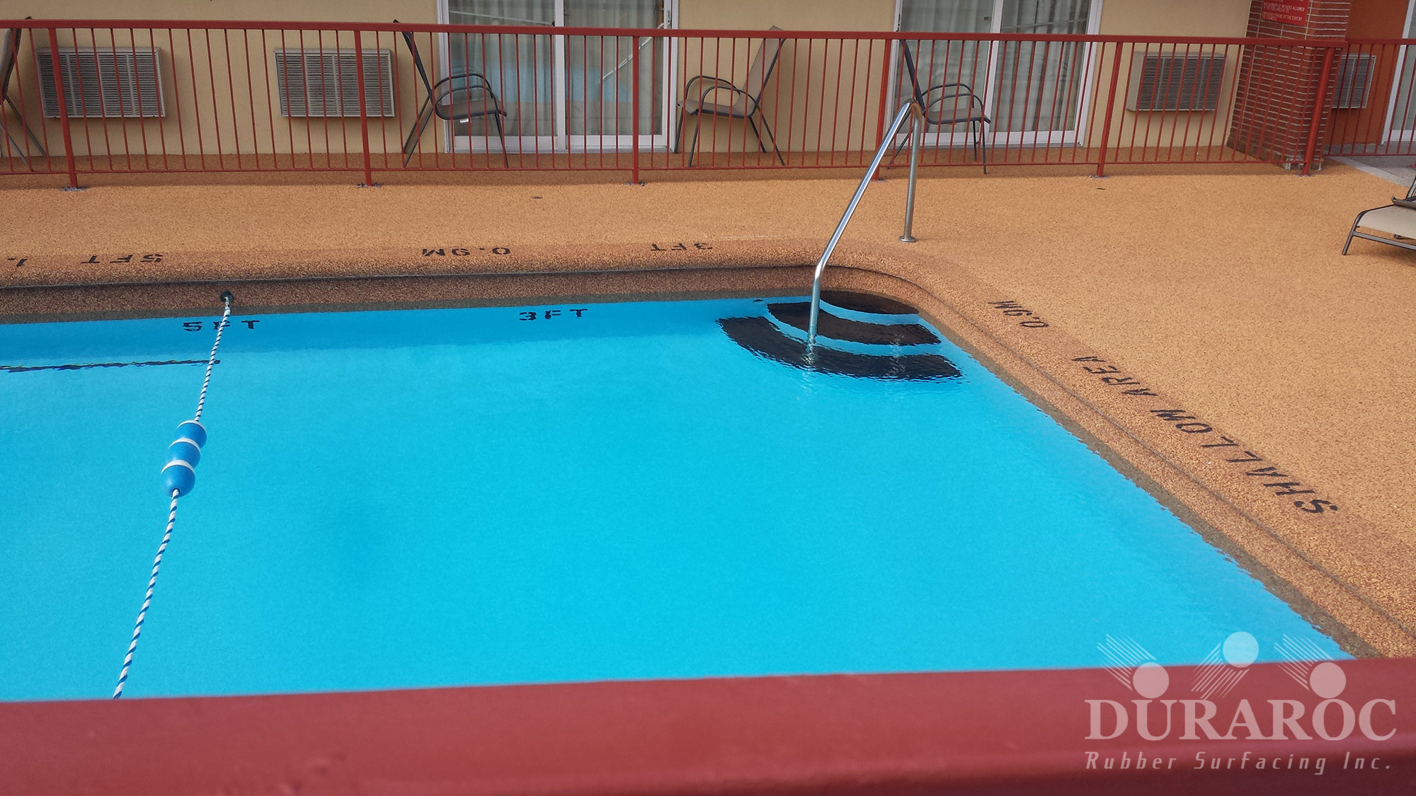 Outdoor pool Duraroc rubberized surface