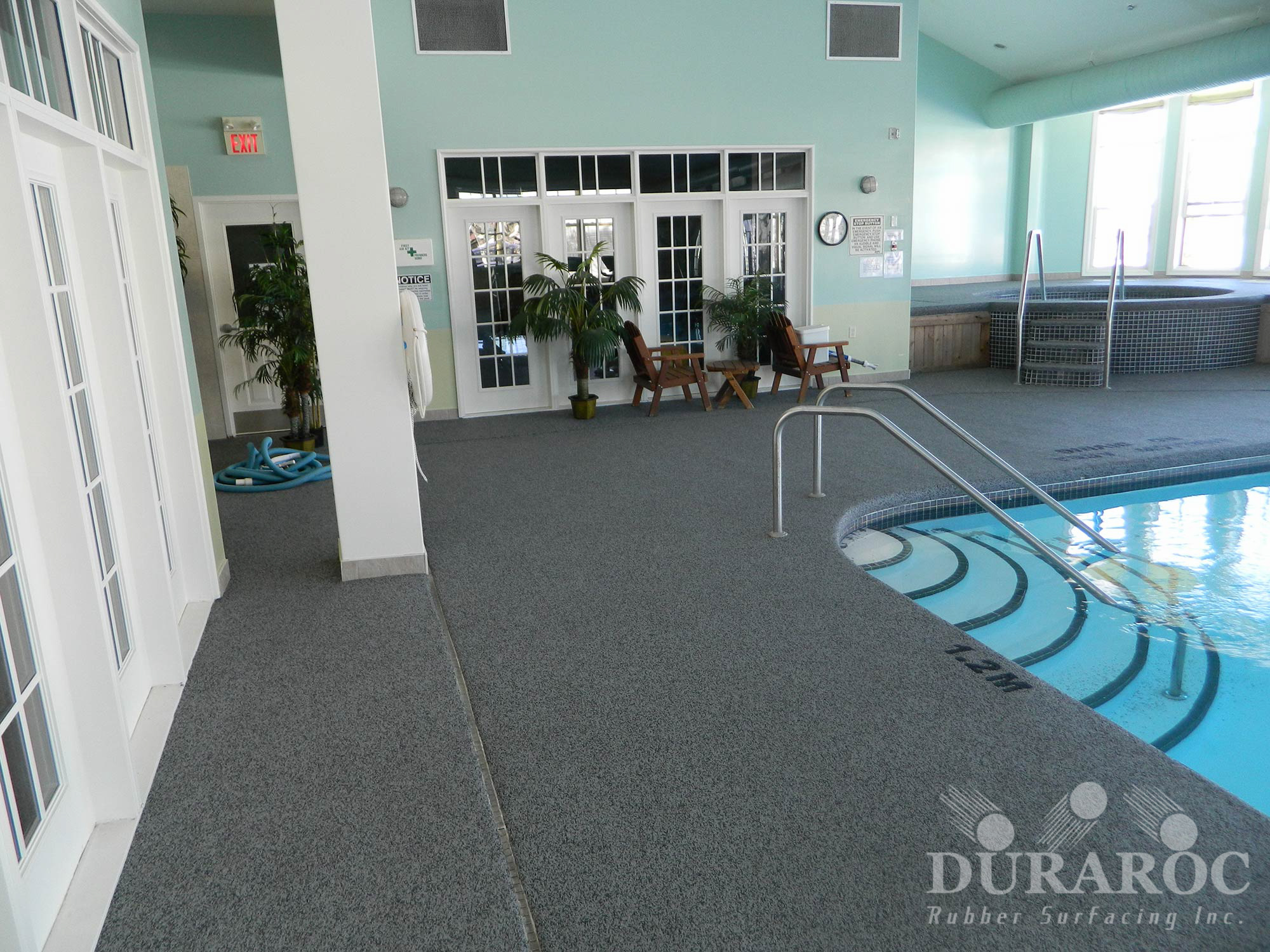 Indoor pool with Duraroc rubberized surface
