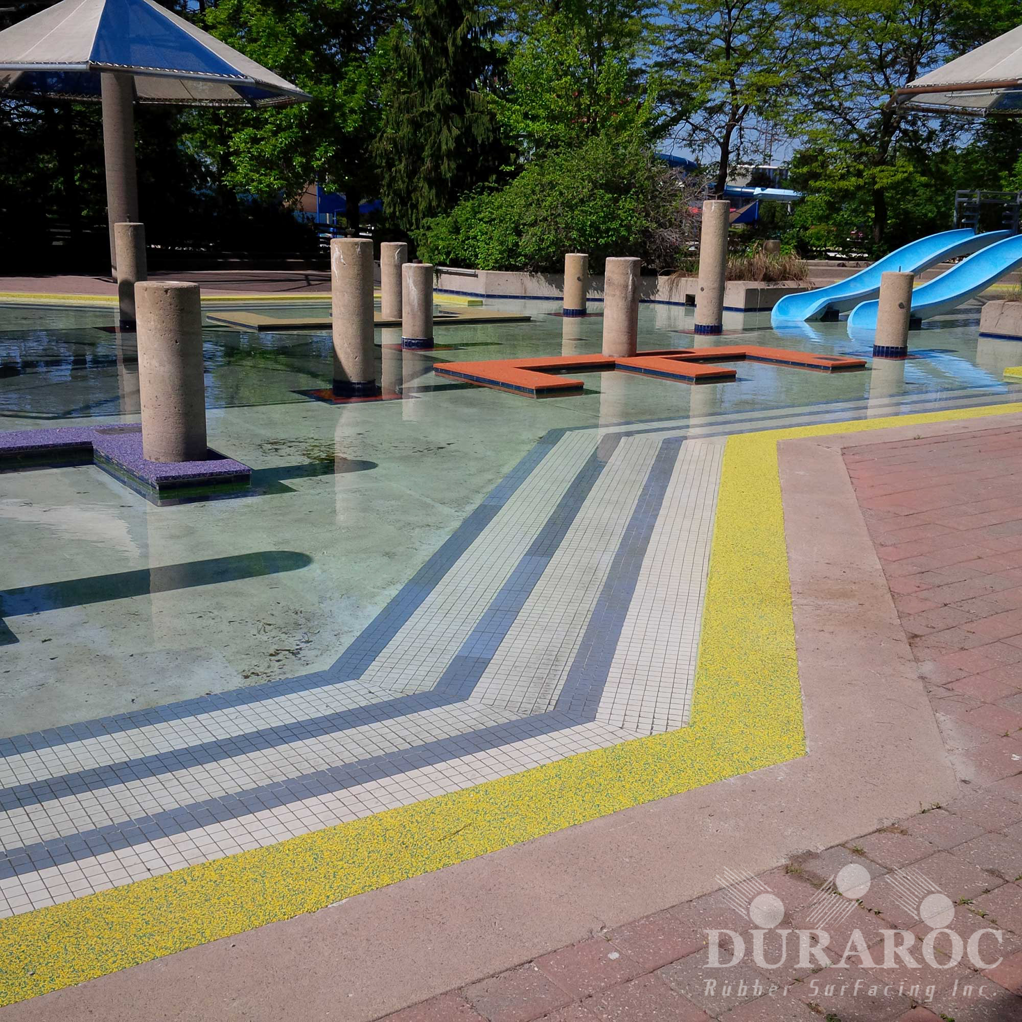 Duraroc anti-slip coating at a water park playgrounds