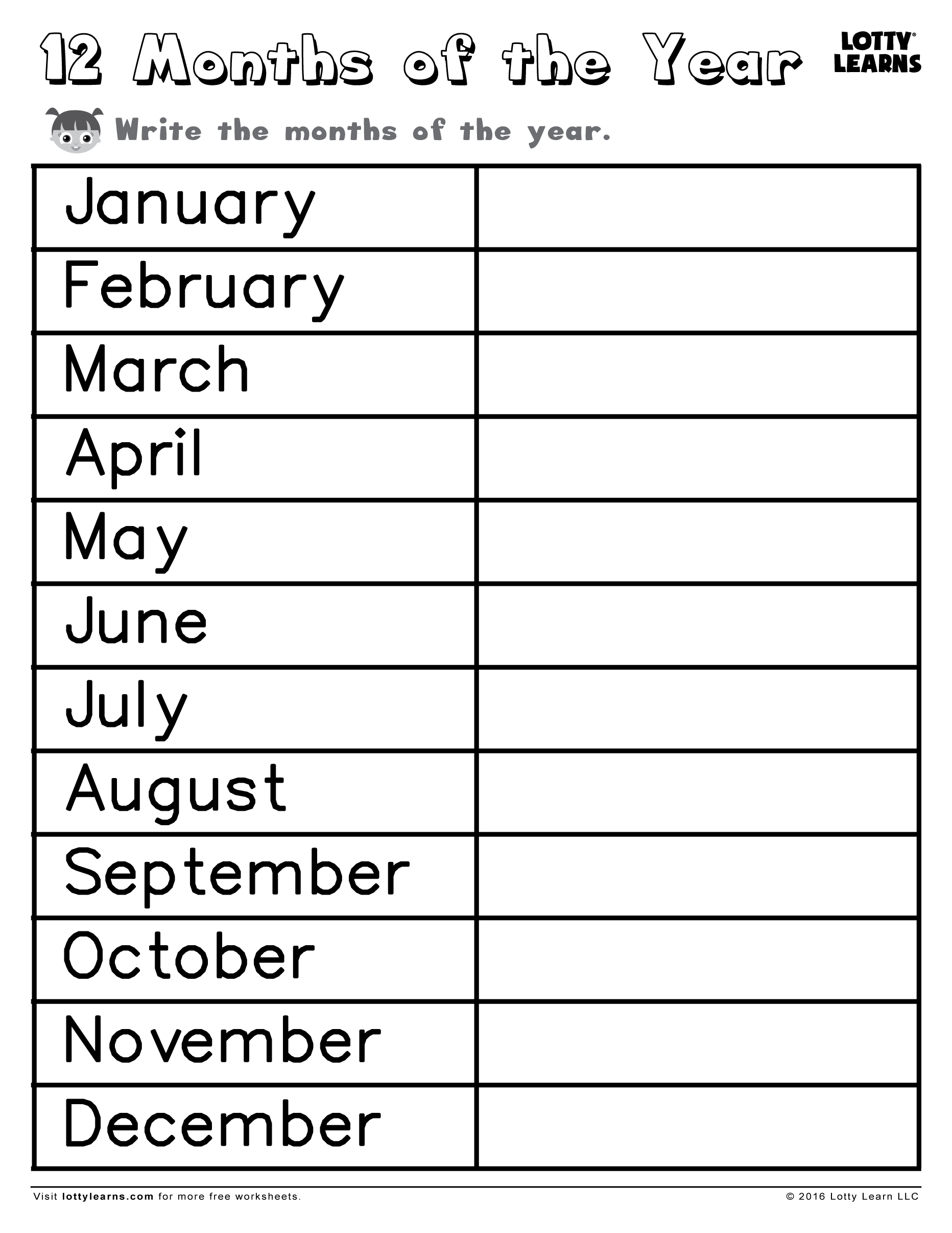 Worksheets Months Of The Year Worksheets 12 months of the year lotty learns download