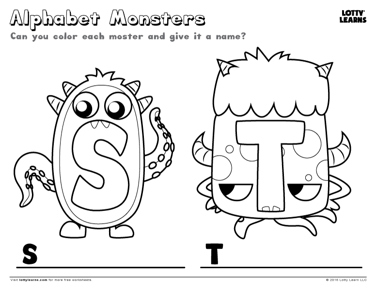 Alphabet Monsters S And T