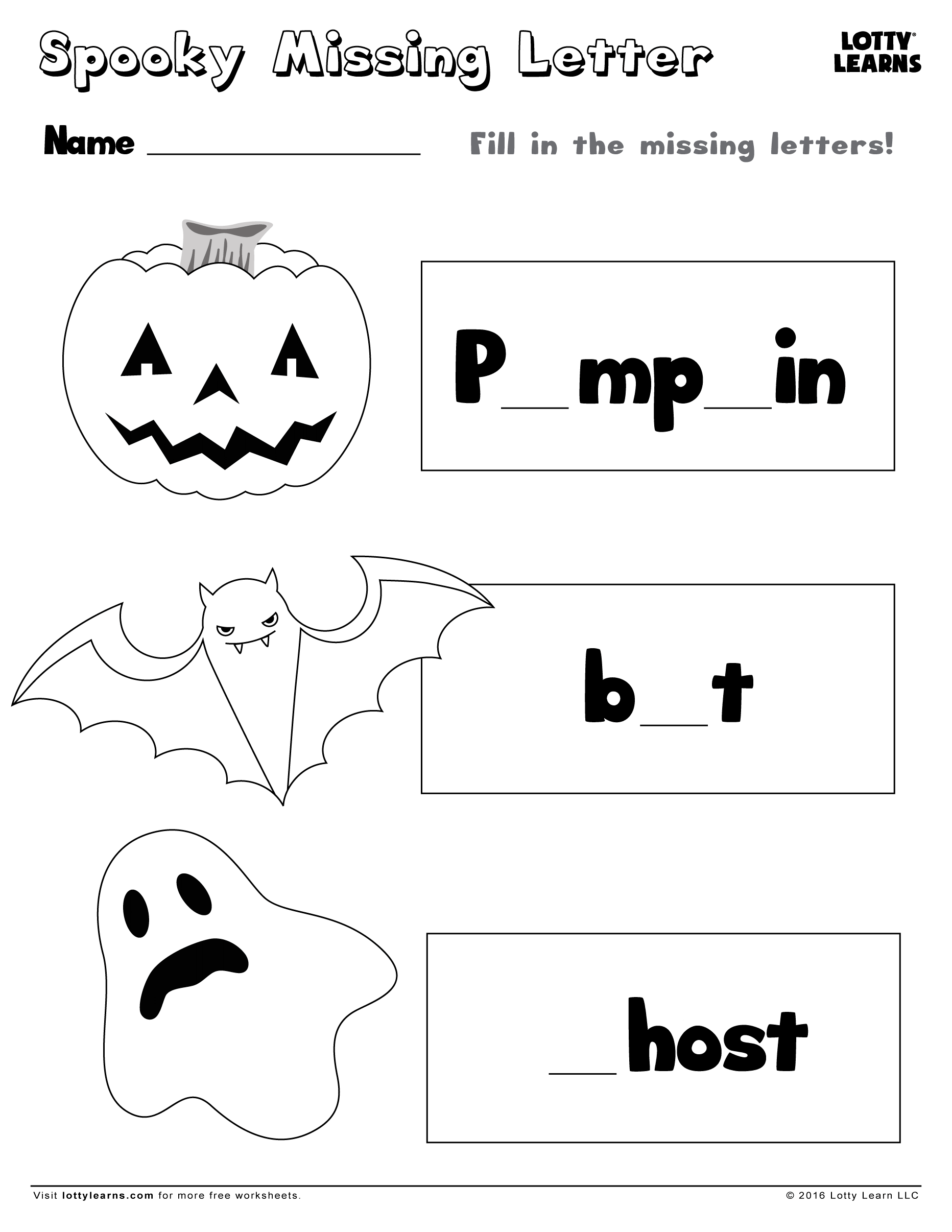 Download. Share with friends. Spooky Missing Letter