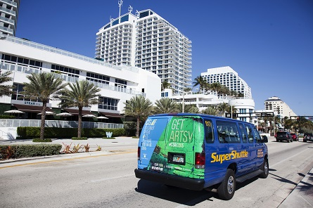 Coconut Grove Art Festival Ad Campaign on an Airport Shuttle