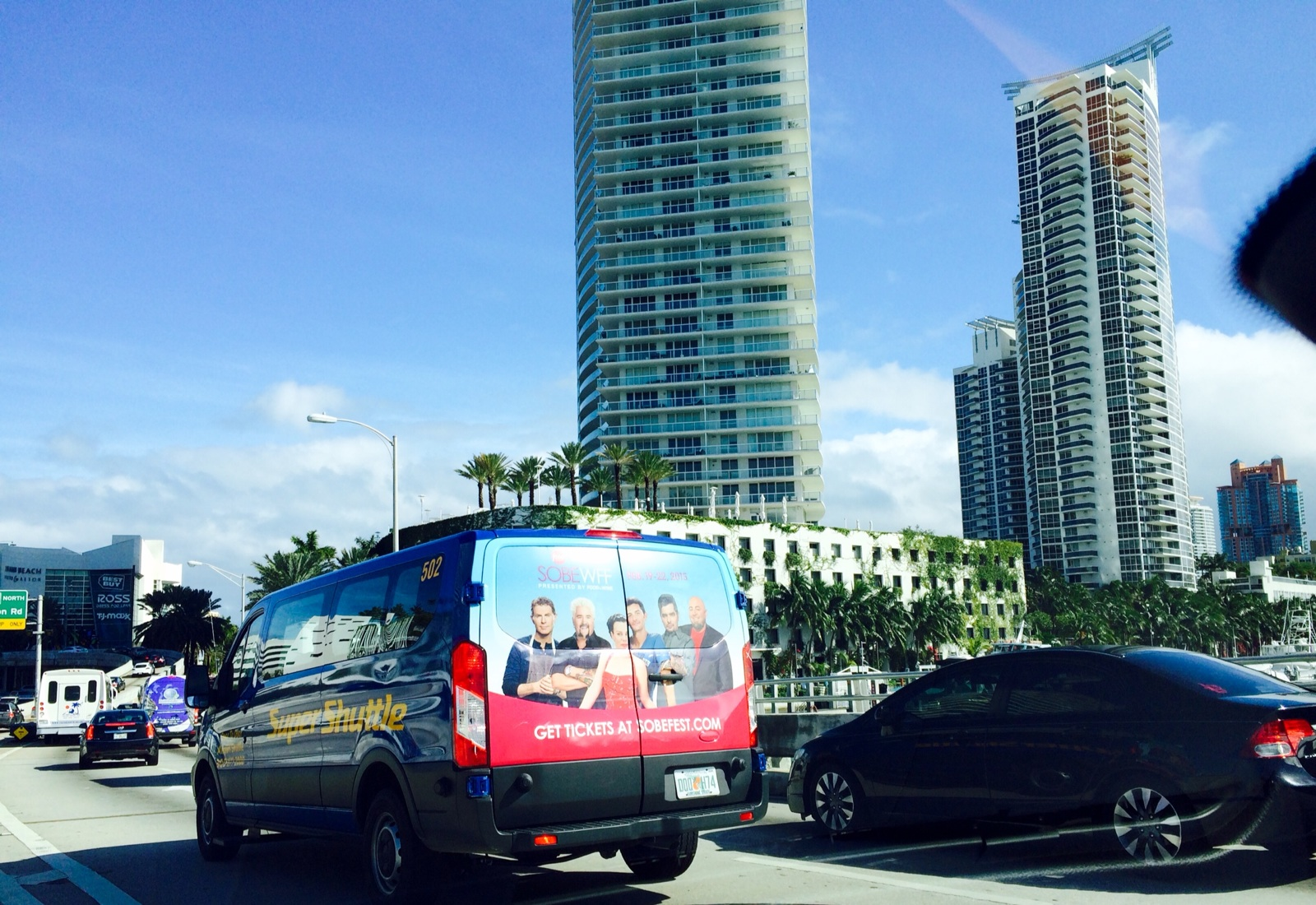 Airport SuperShuttle with a SOBE Wine & Food Festival Back Wrap