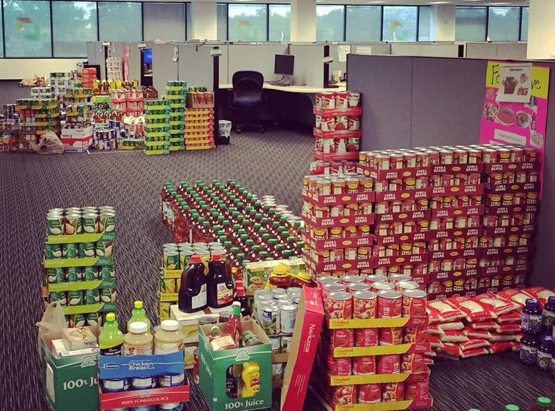 stockpiles of food from our quartetly food drive